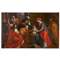 Flemish 17th c. oil on canvas painting of the Adoration of the Magi