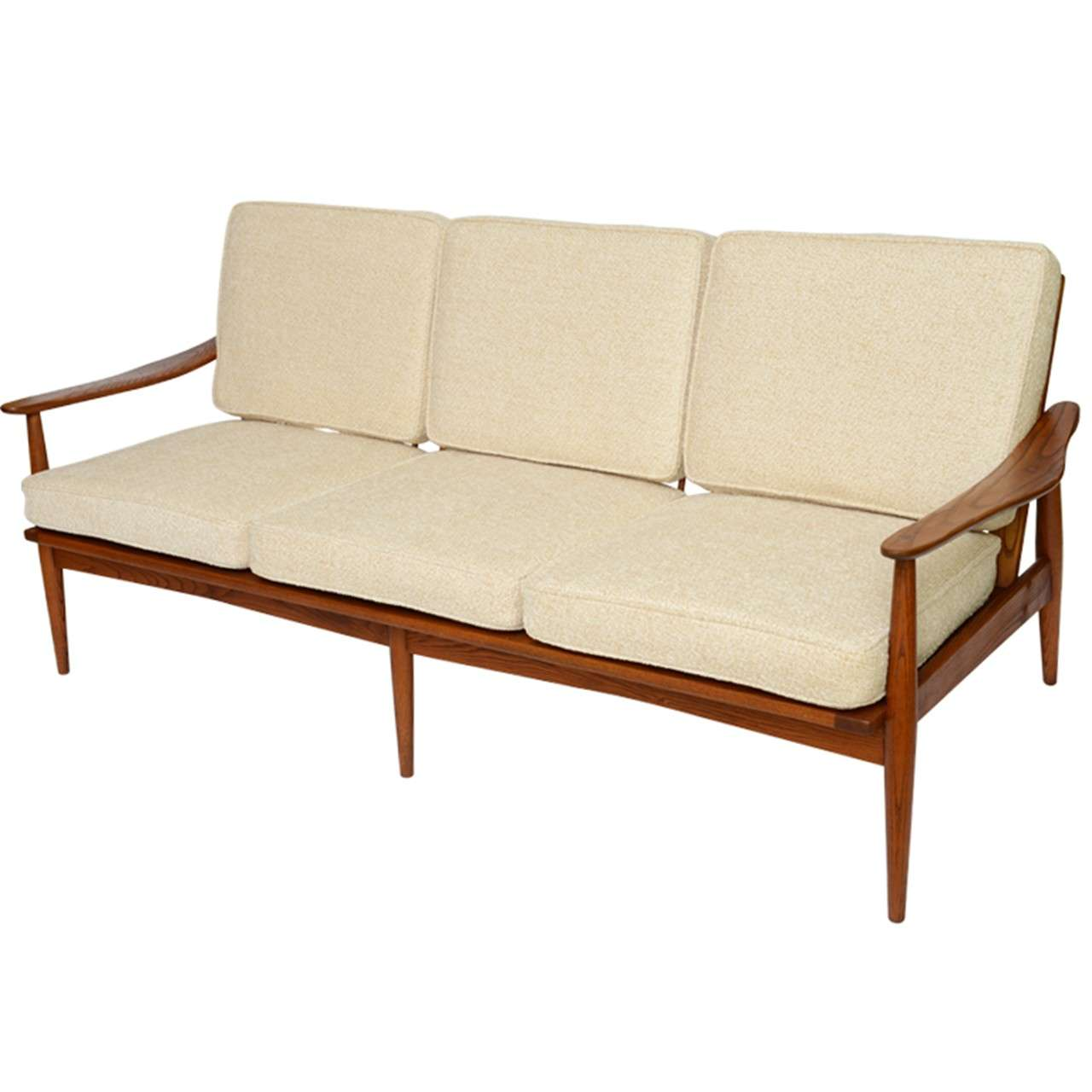 Danish 50s Spindle Back Wide Arm Three Seat Sofa At 1stdibs