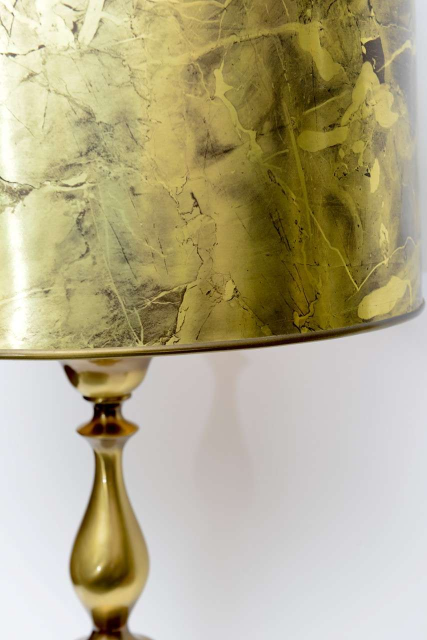 Mid-20th Century Tall Monumental Rembrandt Brass Table Lamp For Sale