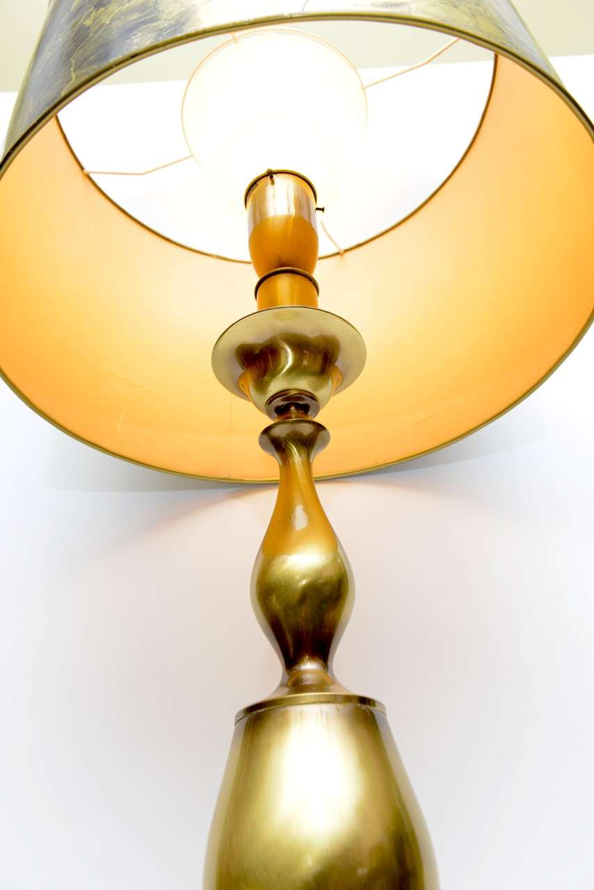 Tall Monumental Rembrandt Brass Table Lamp For Sale 1