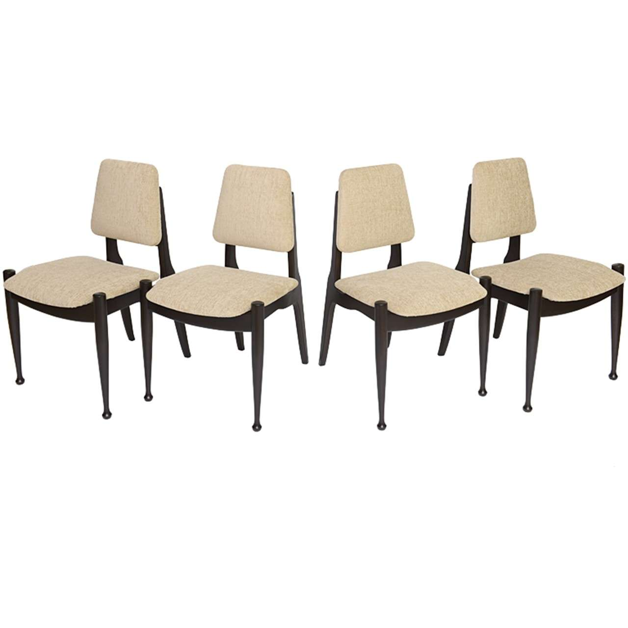 Four greta grossman style ebonized 50s modern dining for Dining room chairs 50