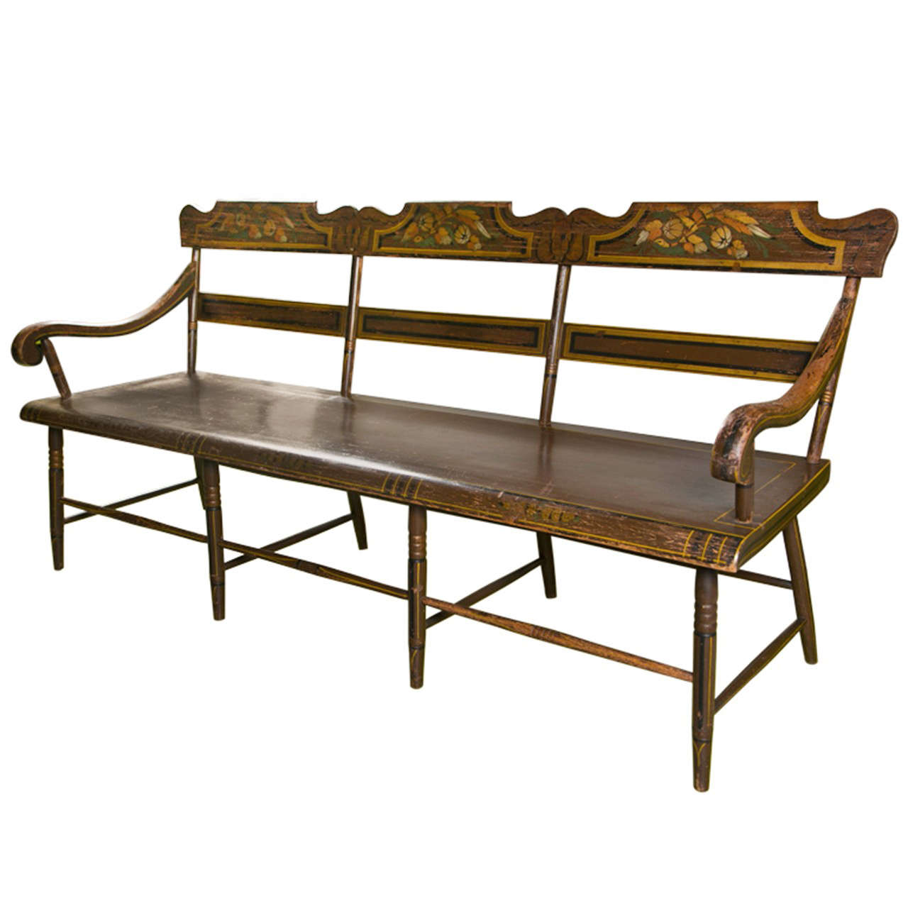 One seat bench pennsylvania single plank seat bench at 1stdibs for M furniture gallery new orleans