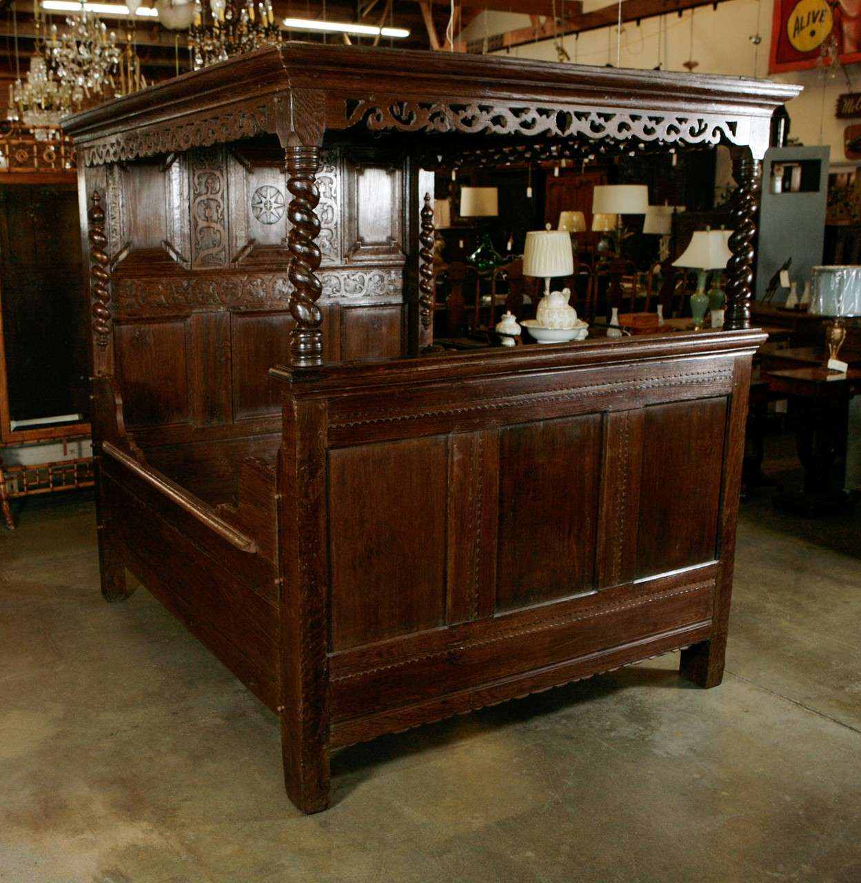 antique carved oak tester bed for sale at 1stdibs. Black Bedroom Furniture Sets. Home Design Ideas