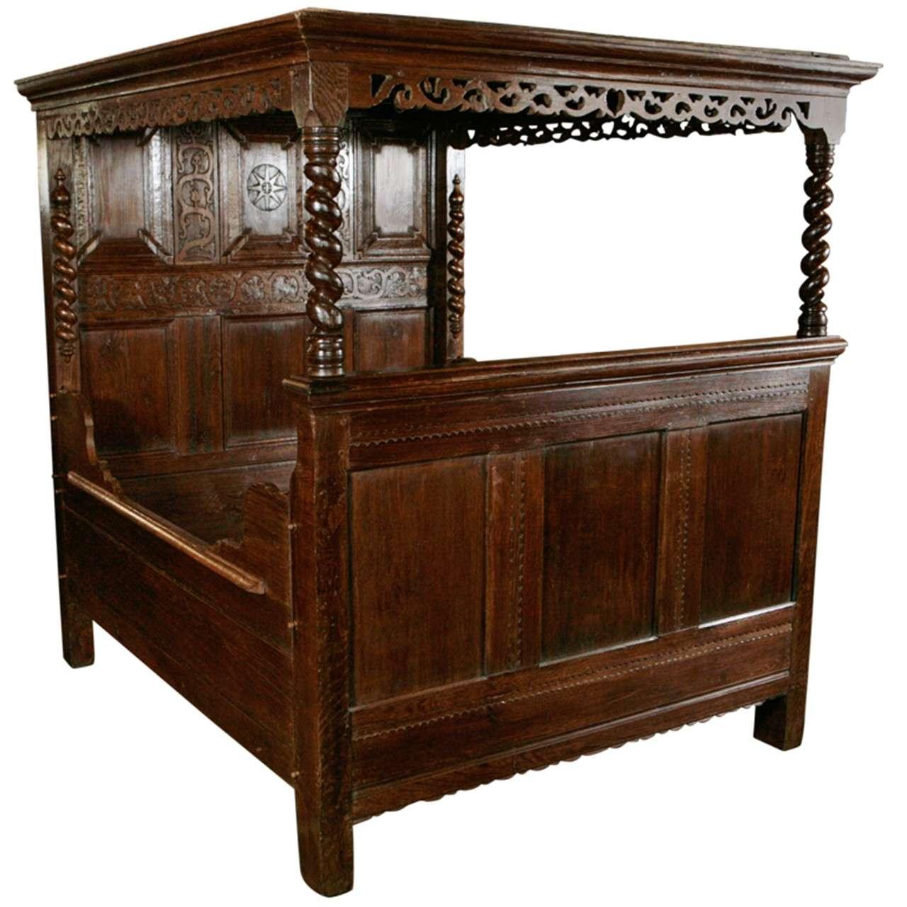 Antique Carved Oak Tester Bed