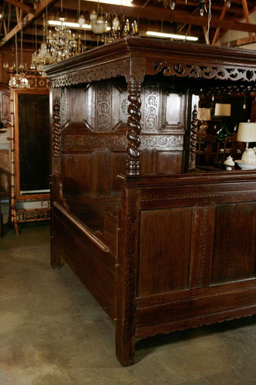 Antique Carved Oak Tester Bed For Sale At 1stdibs