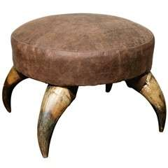 Antique Horn Stool with Leather Upholstry