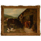 English Oil Painting of Country Scene with Horses and Dogs from the 19th Century