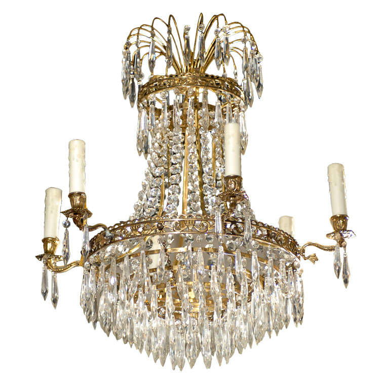 French Six-Light Crystal Basket Chandelier in Empire Style from the 19th Century