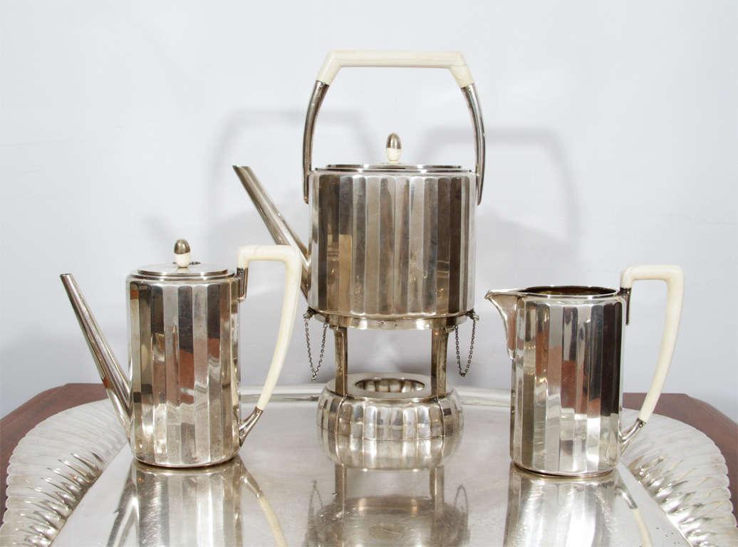 20th Century Fine & Rare Art Deco Silver Tea Service