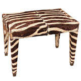 zebra and nailhead bench/sidetable