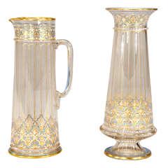 Signed Lobmeyr Moorish-Style Crystal Vase & Pitcher