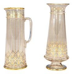 Signed Lobmeyr 19th c Moorish-Style Crystal Pitcher W/ Blue Enamel & Gilt Decor