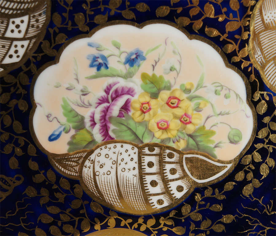 19th Century Early 19th c. Minton Hand Painted Dessert Service w/ Shells For Sale