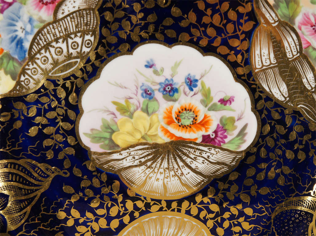 Enamel Early 19th c. Minton Hand Painted Dessert Service w/ Shells For Sale