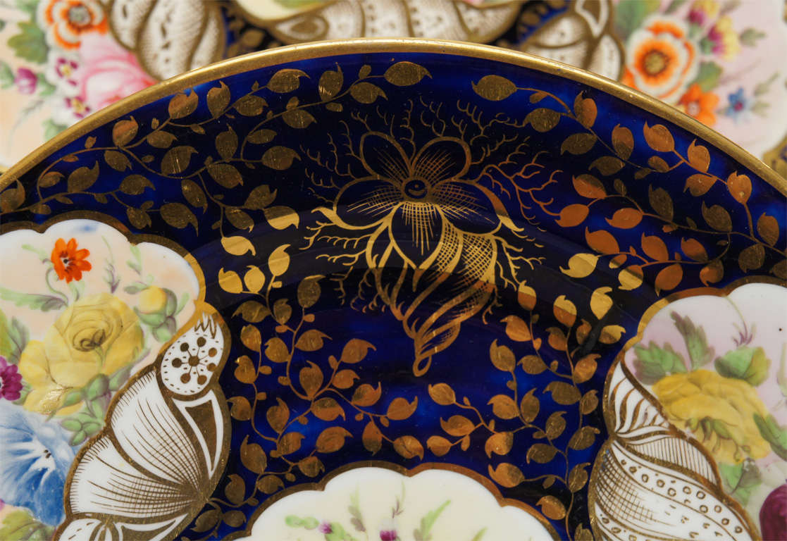 Early 19th c. Minton Hand Painted Dessert Service w/ Shells For Sale 1
