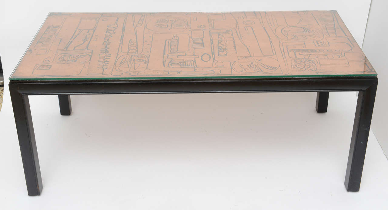 Hammered Copper Top Coffee Table at 1stdibs