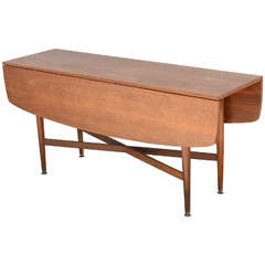 Teak Drop-Leaf Dining or Console Table Danish, 1960s