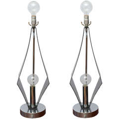Pair of Double-Bulbed Geometric, Smoked Lucite and Chrome Lamps, 1970s USA