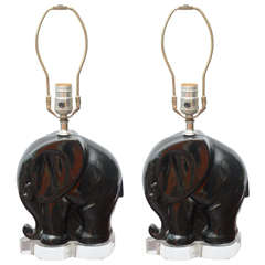 Pair of Black Ceramic and Lucite Table Lamps, 1950s USA