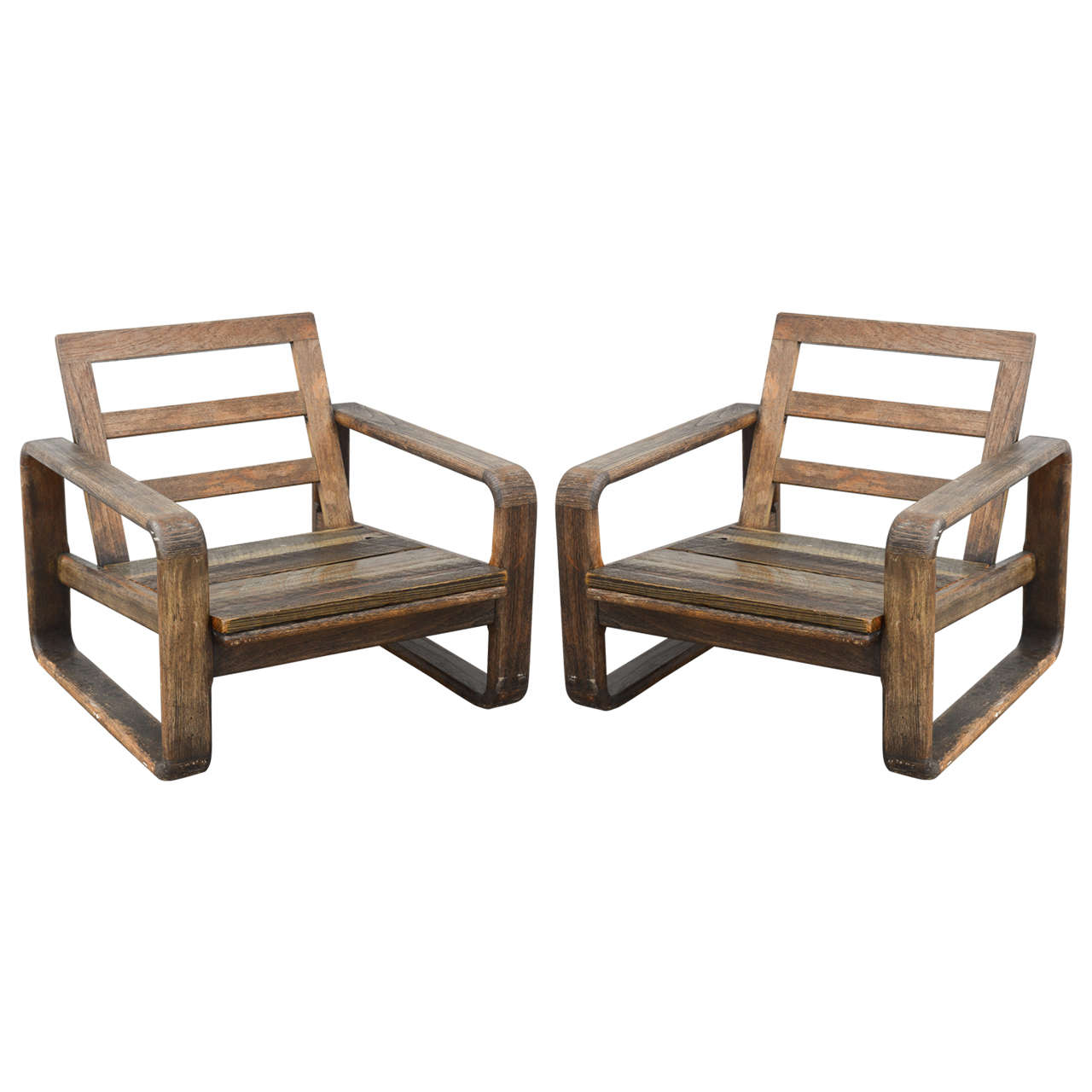 Vintage Teak and Reclaimed Wood Chairs, 1950s, USA 1 - Vintage Teak And Reclaimed Wood Chairs, 1950s, USA For Sale At 1stdibs