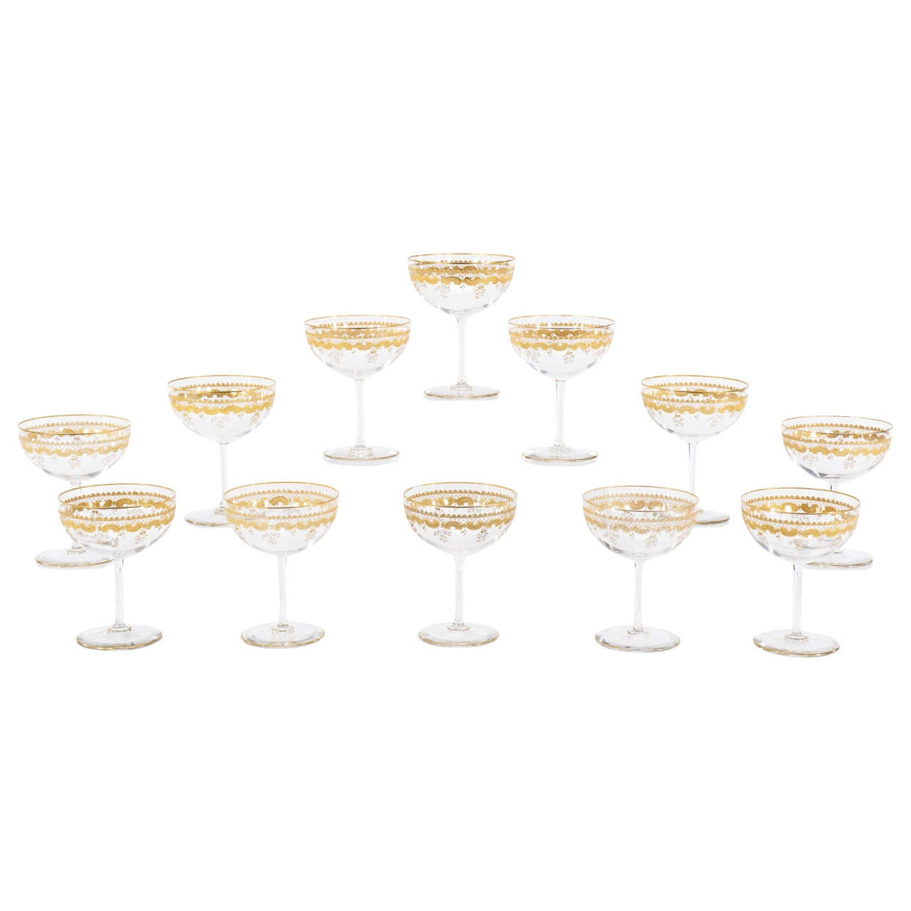 """Set of 12 St. Louis, Hand Blown Crystal Footed Dessert Compotes or """"Supremes"""""""