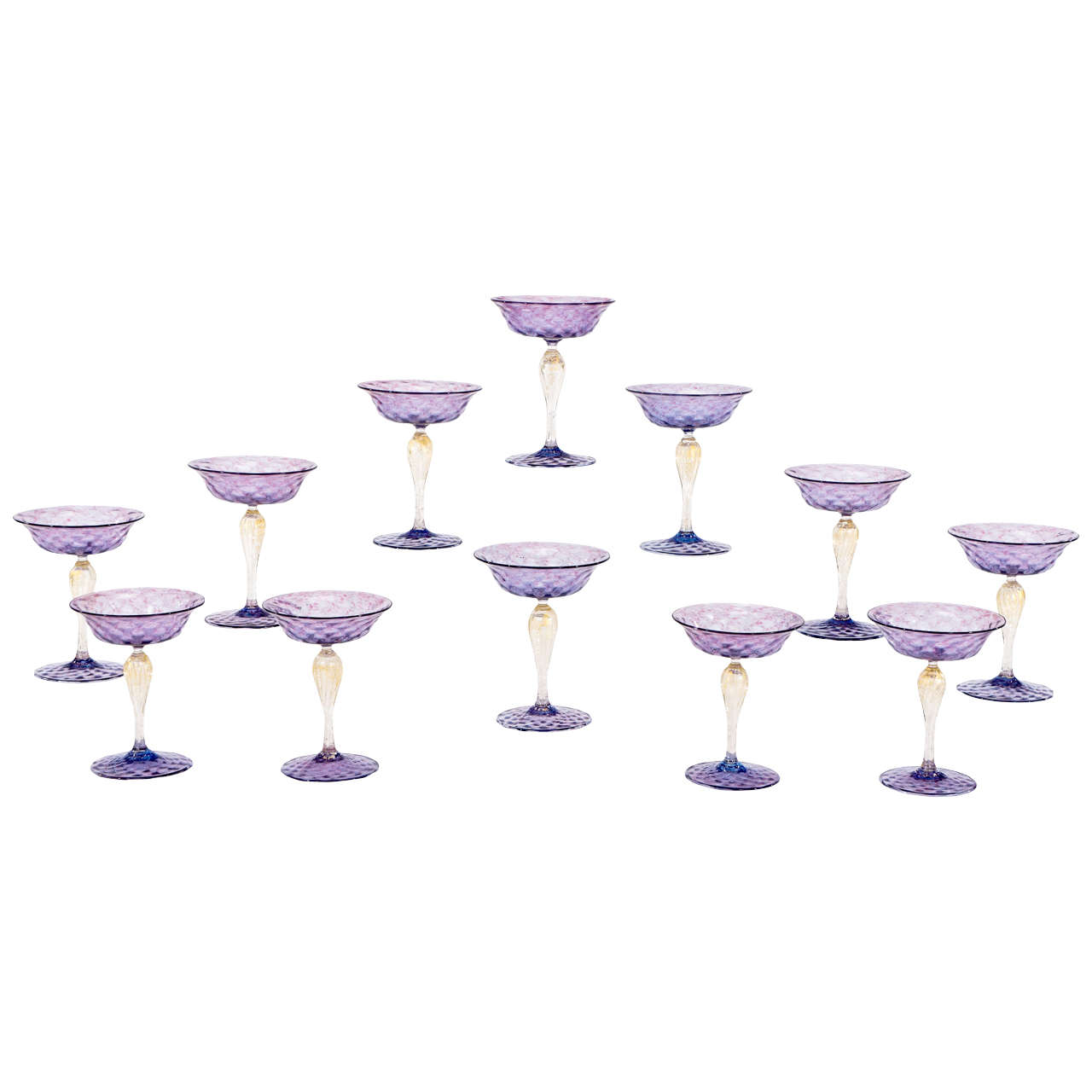 12 Salviati Venetian Amethyst Champagne/Compotes with Gold Leaf Inclusions