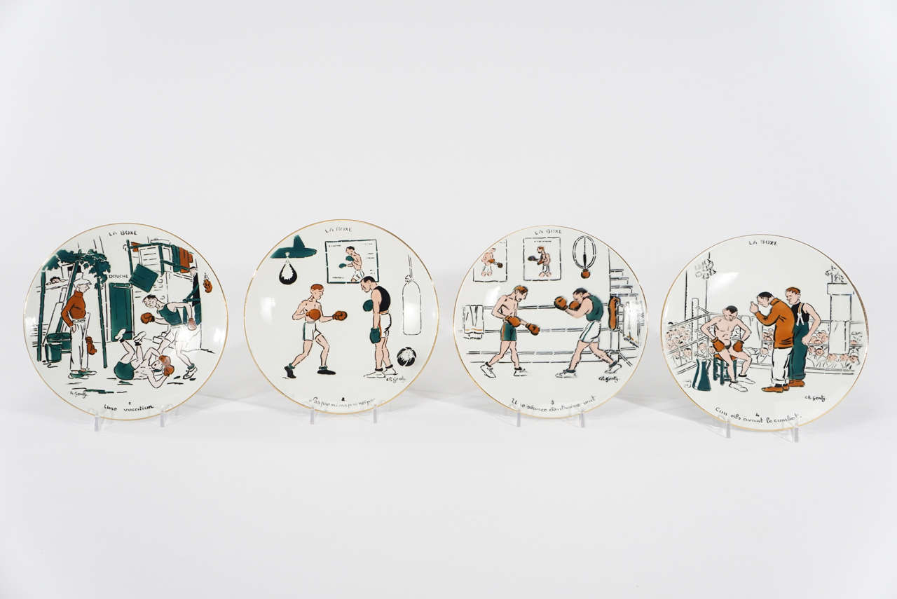 Set of Twelve French Whimsical Boxing Plates Numbered 1-12 In Excellent Condition For & Set of Twelve French Whimsical Boxing Plates Numbered 1-12 at 1stdibs