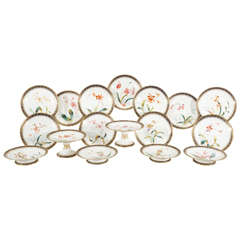 Brownfield Aesthetic Movement Dessert Service with Hand-Painted Orchid