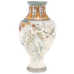 Monumental 19th Century Choisy-le-Roi Art Nouveau Vase, Artist Signed