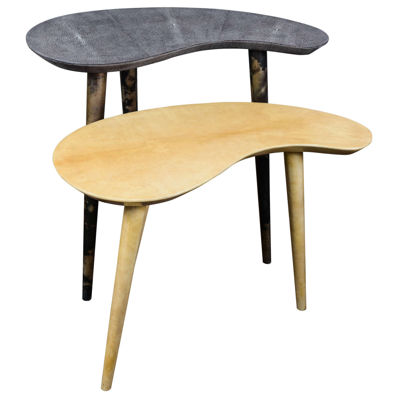 Pair of Shagreen and Parchment Side Tables