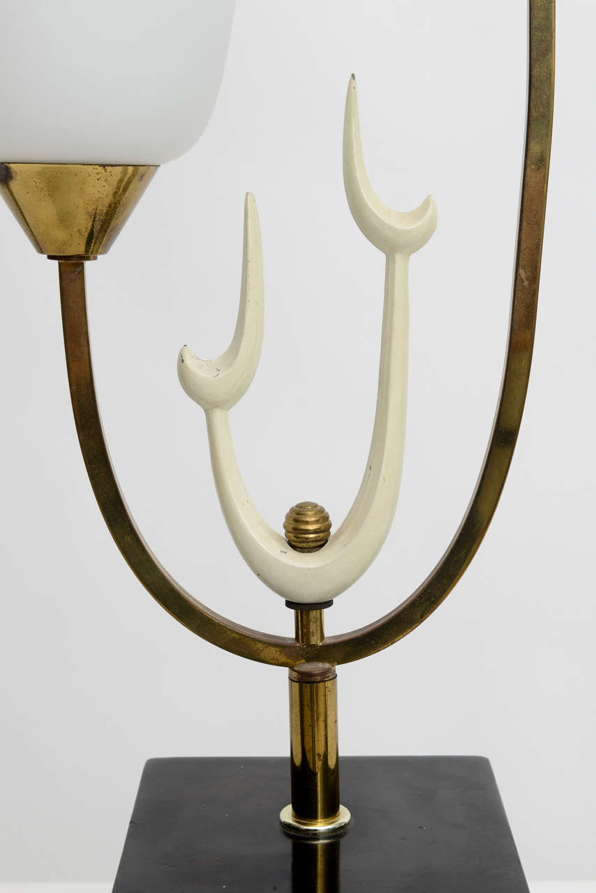 Mid-20th Century Italian Modern Brass Enamel and Glass Lamp, Arteluce For Sale