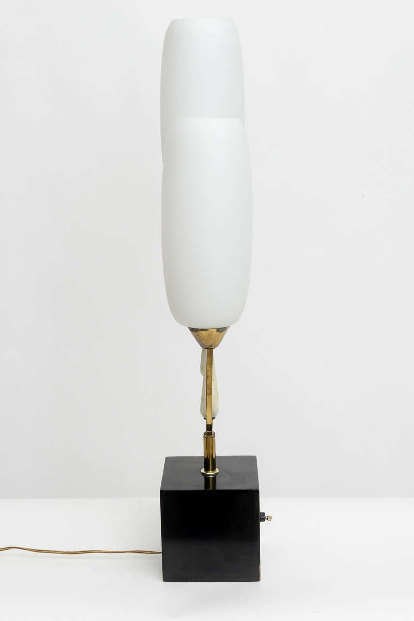 Italian Modern Brass Enamel and Glass Lamp, Arteluce For Sale 1