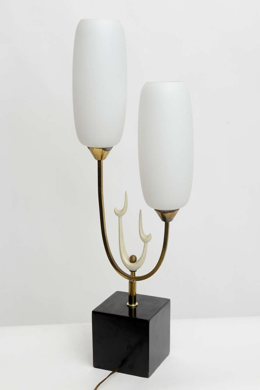 Italian Modern Brass Enamel and Glass Lamp, Arteluce For Sale 2