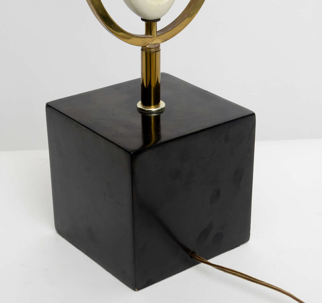 Italian Modern Brass Enamel and Glass Lamp, Arteluce For Sale 3