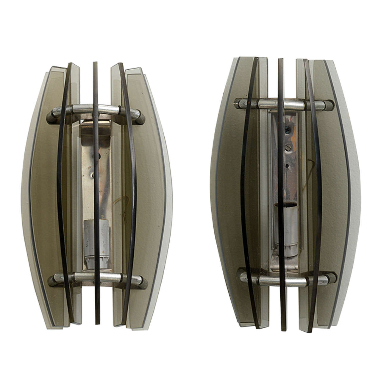 Pair of Italian Modern Smoked Glass Wall Lights, Manner of Fontana Arte For Sale at 1stdibs