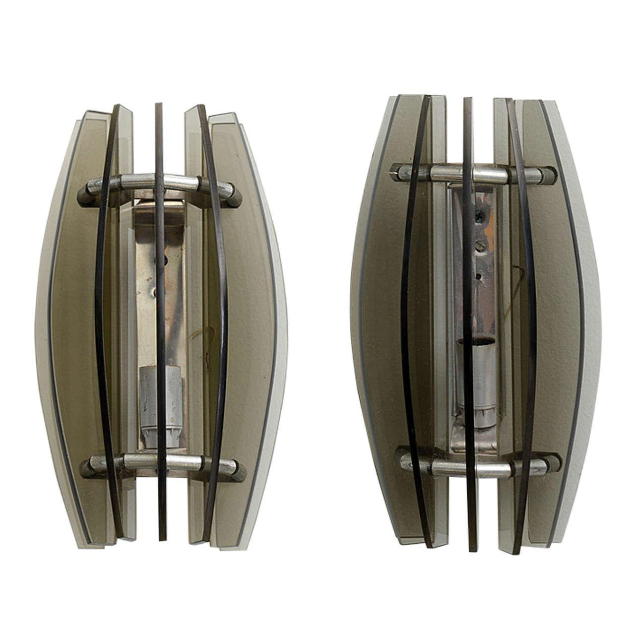 fontana arte lighting. pair of italian modern smoked glass wall lights, manner fontana arte 1 lighting