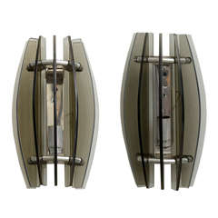 Pair of Italian Modern Smoked Glass Wall Lights, Manner of Fontana Arte