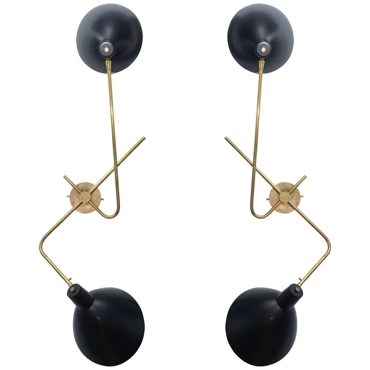Pair of Large Italian Modern Brass and Enameled Wall Lights, Gino Sarfatti