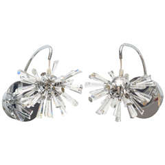 Pair of Italian Modern Polished Chrome and Glass Sputnik Wall Lights