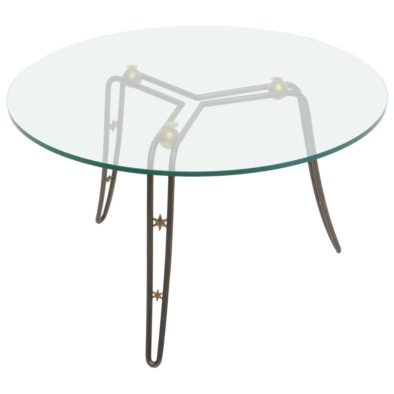 French Modern Steel, Brass and Glass Low Table in the Style of Royere