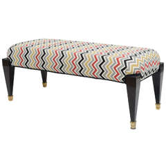 French Neoclassic Style Ebonized and Brass Bench, Maison Jansen
