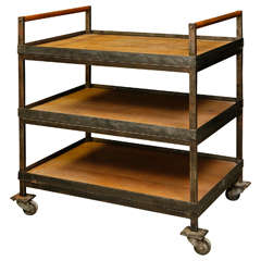 Industrial Three-Tray Cart with Wheels