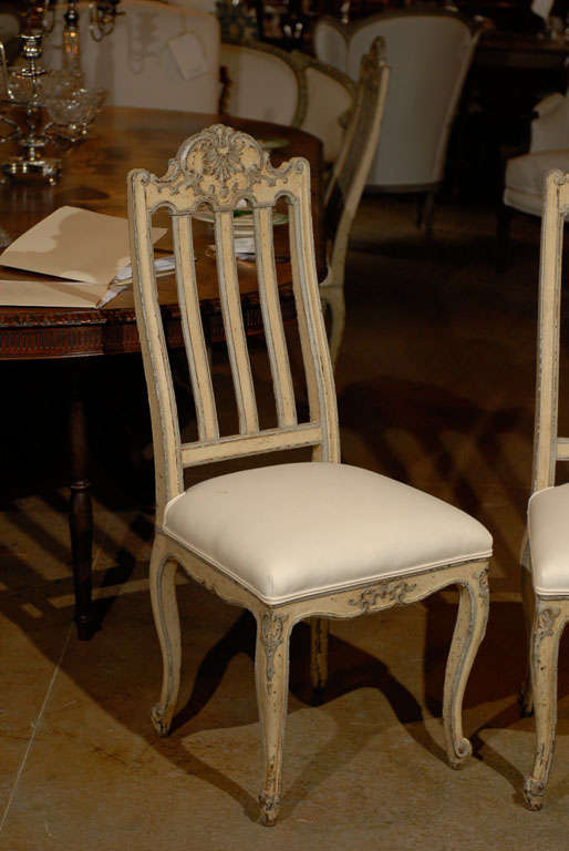 Set of Six Rococo Style Belgian Painted Dining Room Chairs with Carved Crests In Good Condition For Sale In Atlanta, GA