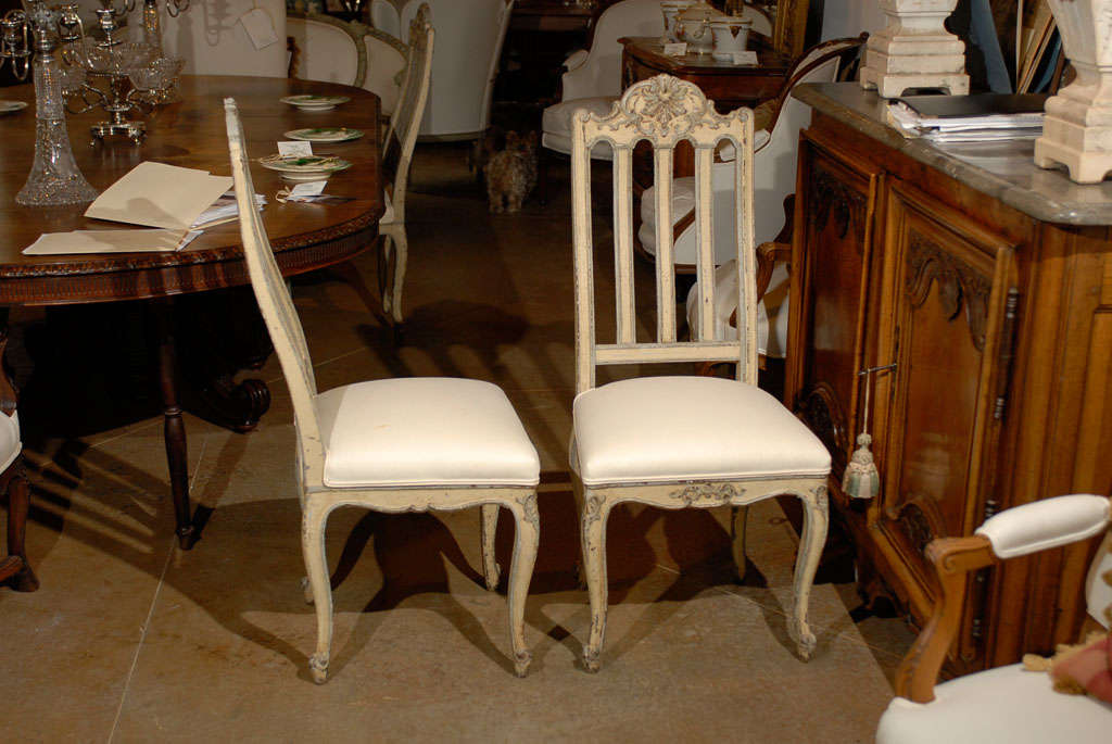 Wood Set of Six Rococo Style Belgian Painted Dining Room Chairs with Carved Crests For Sale