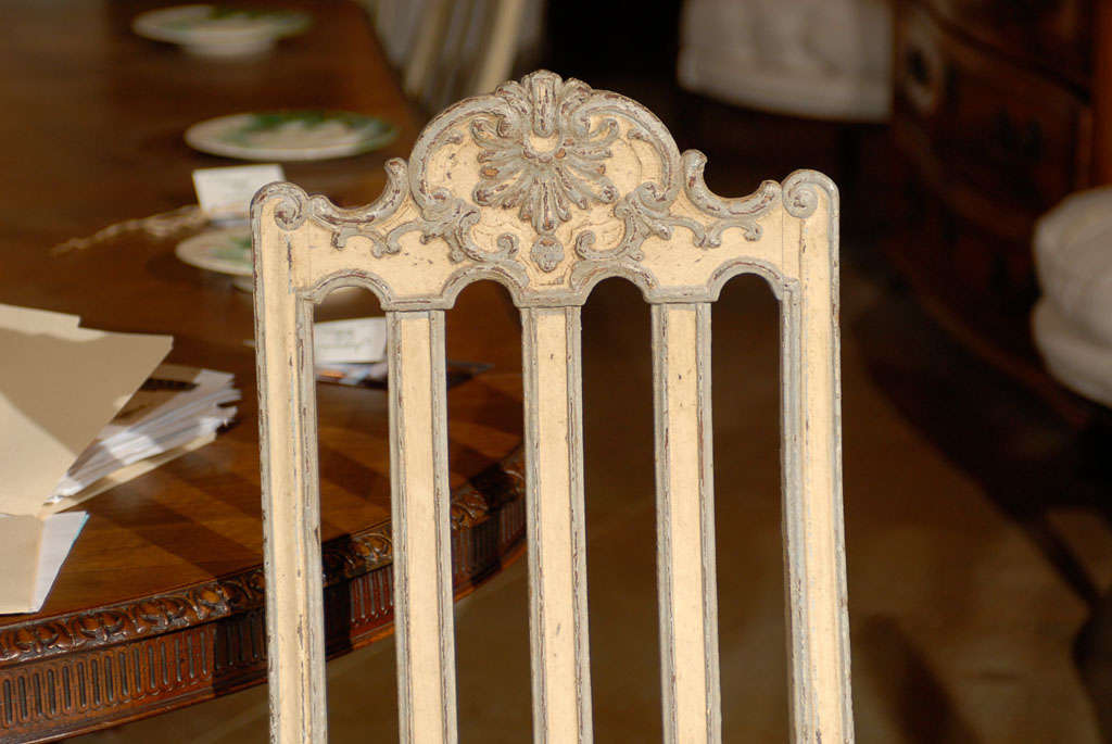 Set of Six Rococo Style Belgian Painted Dining Room Chairs with Carved Crests For Sale 3