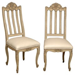 Set of Six Rococo Style Belgian Painted Dining Room Chairs with Carved Crests