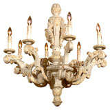 French Rococo Style, 19th Century Painted, Parcel-Gilt and Carved Chandelier