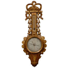 French 1774 Louis XVI Giltwood Barometer Thermometer Signed Carfatelly