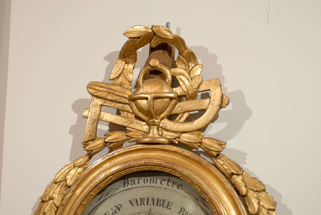 18th Century Giltwood Barometer with Allegory of Science 3