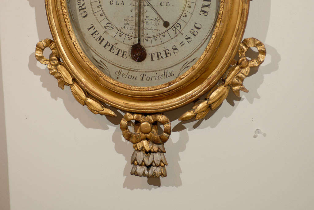 18th Century Giltwood Barometer with Allegory of Science 5